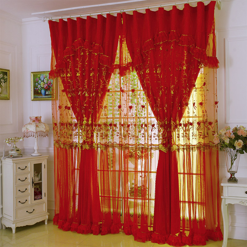 Online Shop Custom Curtains High Grade Chinese Wedding Celebration Red Lace Curtain Living Room Bedroom Sheer E278