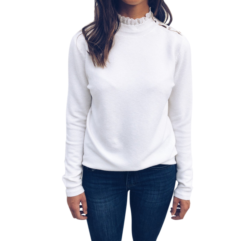 Fashion Women Autumn T-shirt Button Lace Long Sleeves Pullover Tops Casual Tee Shirt Female Solid Woman Tshirt Top White