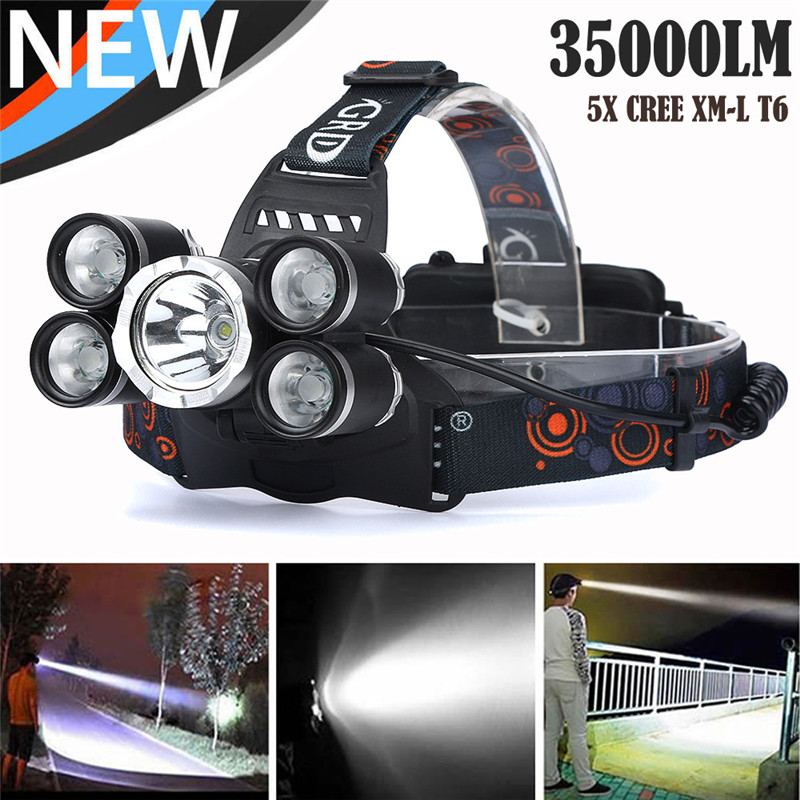 Flashlight 2018 35000 LM 5X CREE XM L T6 LED Rechargeable Headlamp Headlight Travel Head Torch