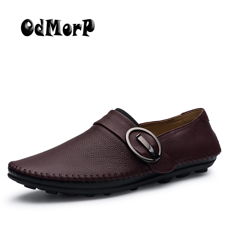ODMORP Men Shoes Handmade Genuine Leather Shoes Men Fashion Slip On Casual Shoes Soft Breathable Dress Shoe Spring Loafers branded men s penny loafes casual men s full grain leather emboss crocodile boat shoes slip on breathable moccasin driving shoes