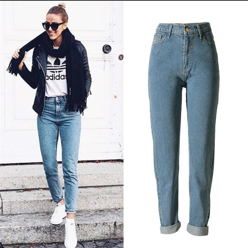 2017 New Women Fashion High Waist Jeans street wind loose trousers large size Ladies Cotton Casual