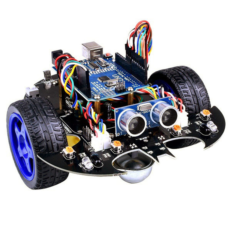 YahBoom Smart Bat Robot Intelligent Programming Bluetooth Control Car Kit with for Arduino UNO R3 Board For Science Kids Educate arduino robot smart car kit uno r3 wireless control starter study l298n shield