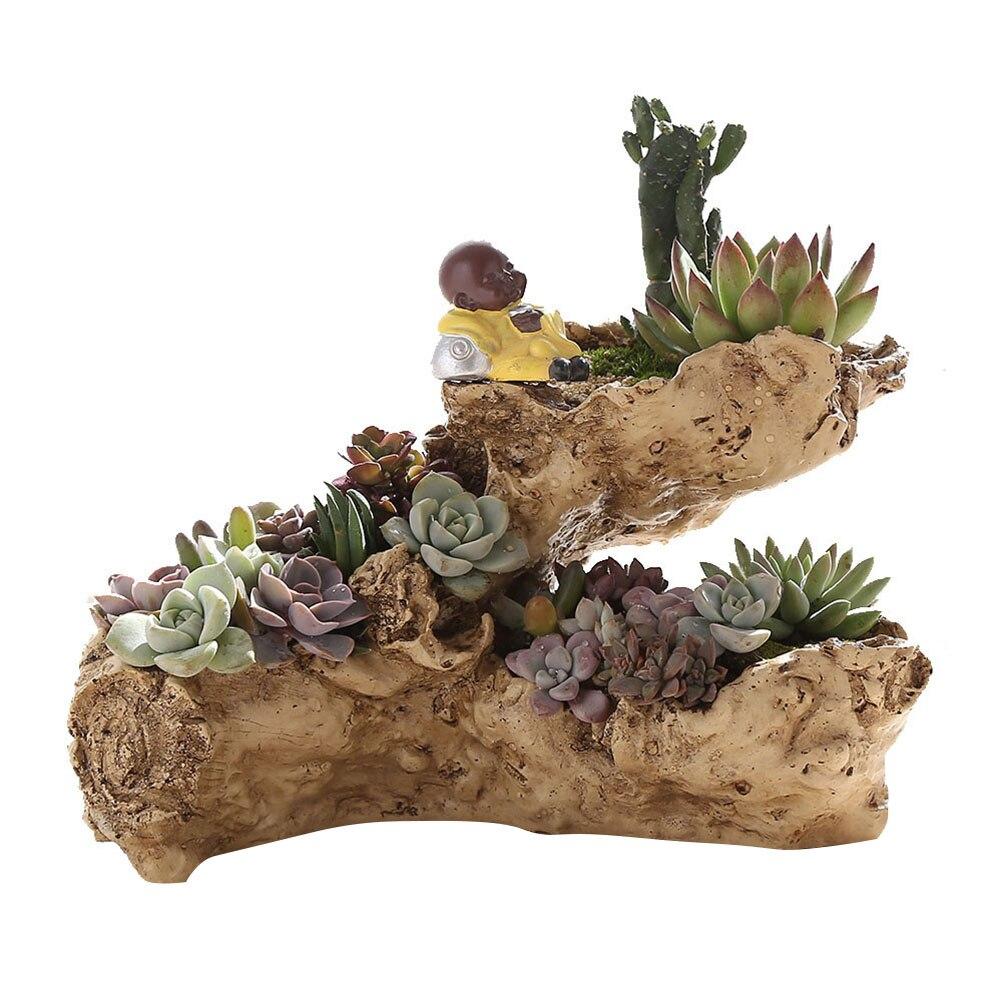 Vase en résine maison Pots décoratifs planteur Pot de fleur naturel Antique décor Succulent planteur vase de fleur