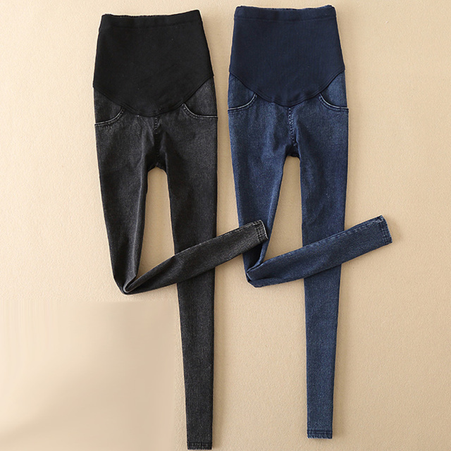 3fc0a731e72a9 2017 Pantalones vaqueros de maternidad finos negros legging otoño Pantalones  largos para mujeres embarazadas