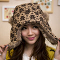 Russian Fur Bomber Hats For Women New Knitted Adult Hat Flowers Design Thicking Ear Protection Winter Hats Cap Caps