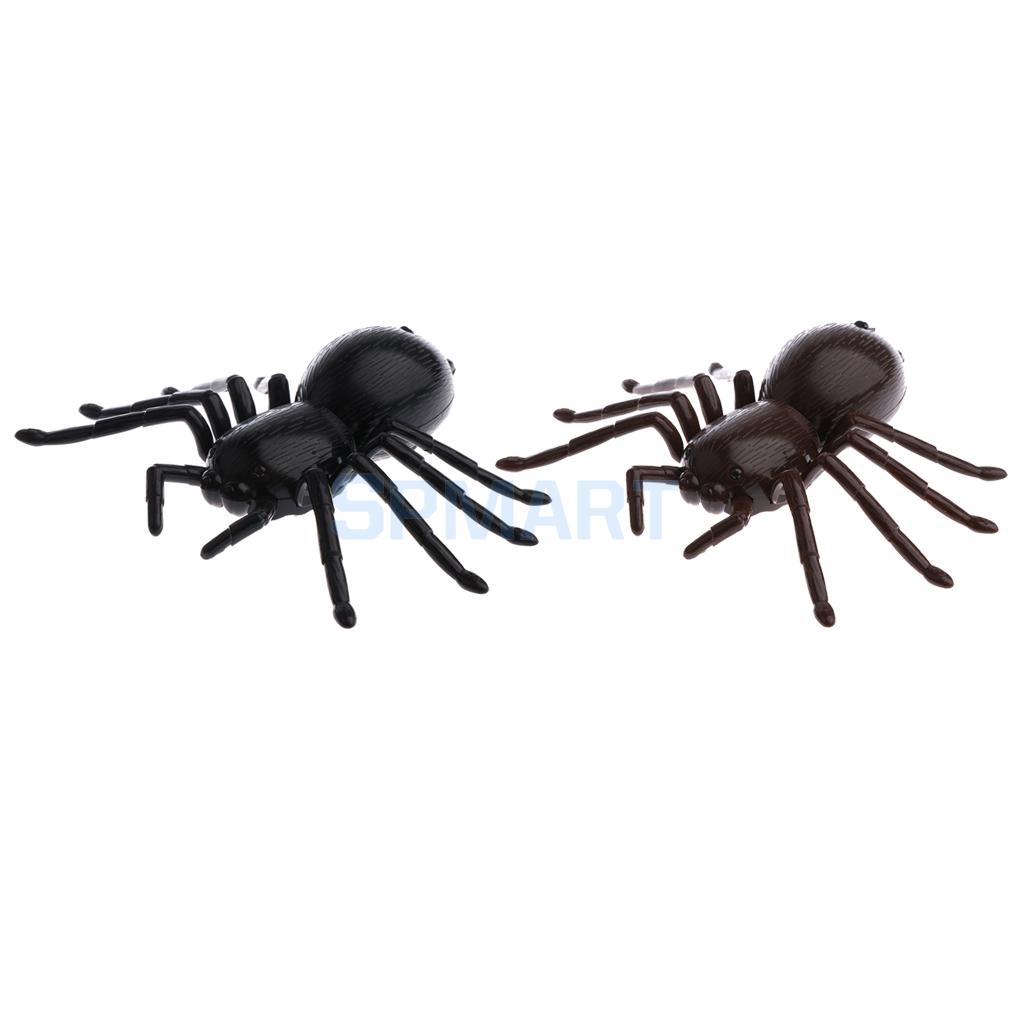 2pcs RC Infrared Remote Control Spider Prank Toys Insects Joke Scary Trick Gag Party Halloween Xmas Gift Kids Friends Cat Toy стоимость