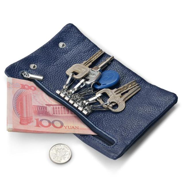 2017 Hot Selling Men PU Leather Wallet Car Key Chain Holder With 6 Ring  Pouch Case Key Holder For Women Men carteira masculina b1f3a6e4b