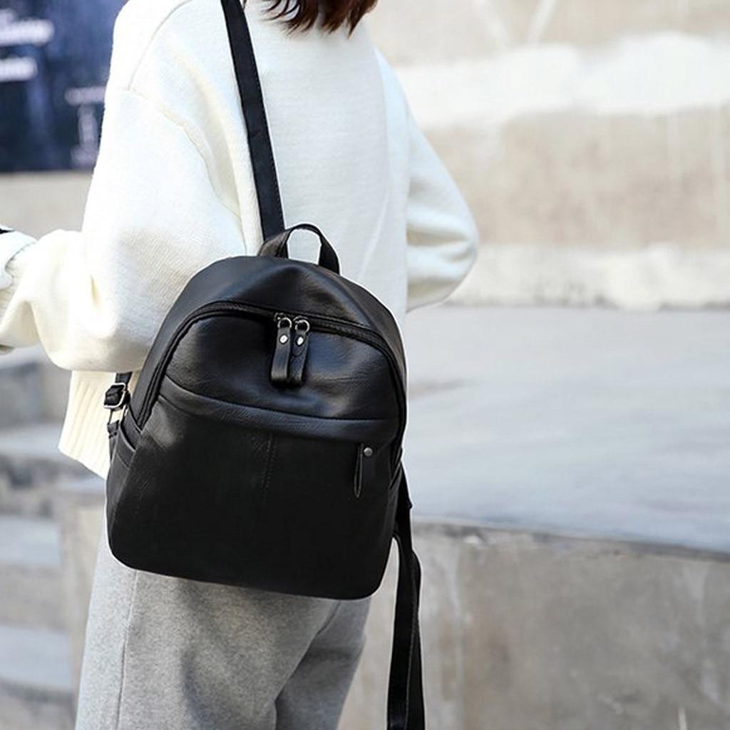Women's Backpacks Fashion Solid Color Versatile Leather Backpack Large Capacity Travel Bag For Girls Plecaki Damskie
