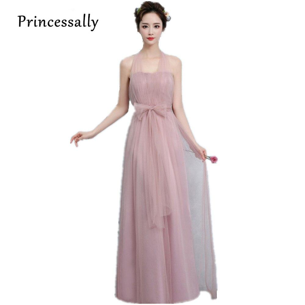 Новое пыльное розовое платье подружки невесты длинное платье с открытыми плечами из тюля милое ТРАПЕЦИЕВИДНОЕ гофрированное платье для свадьбы выпускного вечера платья под$50