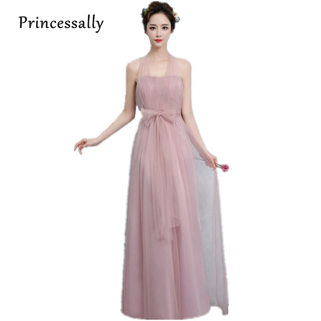 2f4f95fb986 New Dusty Pink Bridesmaid Dress Long Off Shoulder Tulle Sweetheart A Line  Pleated Gown For Wedding Prom Party Dresses Under  50