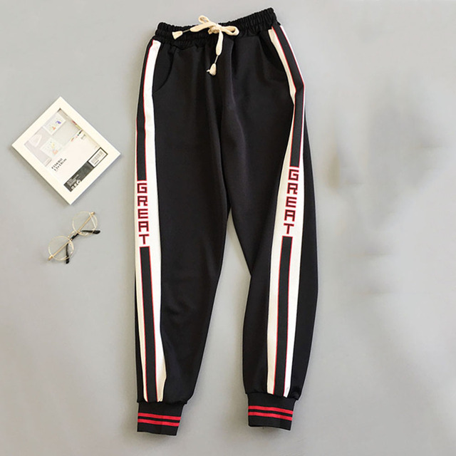 BF Style Red Trousers Women 2018 New Autumn Loose Letter Print Pockets Thin Streetwear Cool Girl Fashion Harajuku Hip Hop Pants