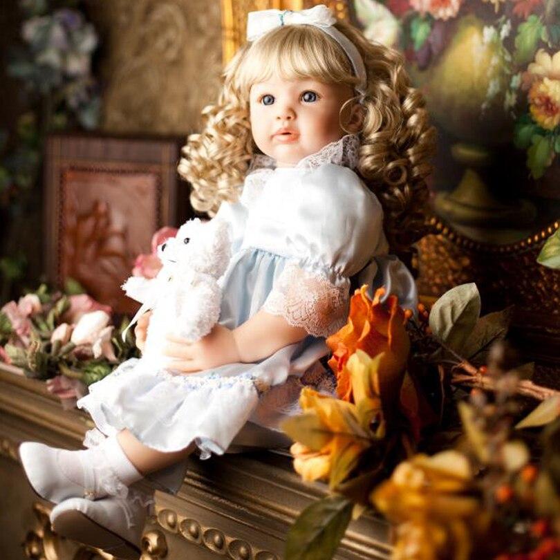 60 cm Silicone Reborn Bébés Princesse Bambin Poupées Vinyle Simulé Poupée Reborn De Noël Cadeaux Coton Corps Baby Alive Brinquedos