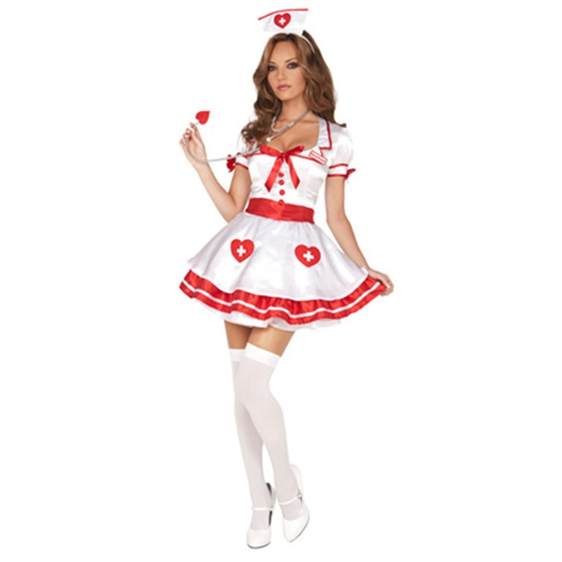 Short Sleeves Square Neck Nurse Costumes Adult Women Carnival Party Sexy Cosplay Halloween Costume Outfit New Design L15203 L15203 800x800