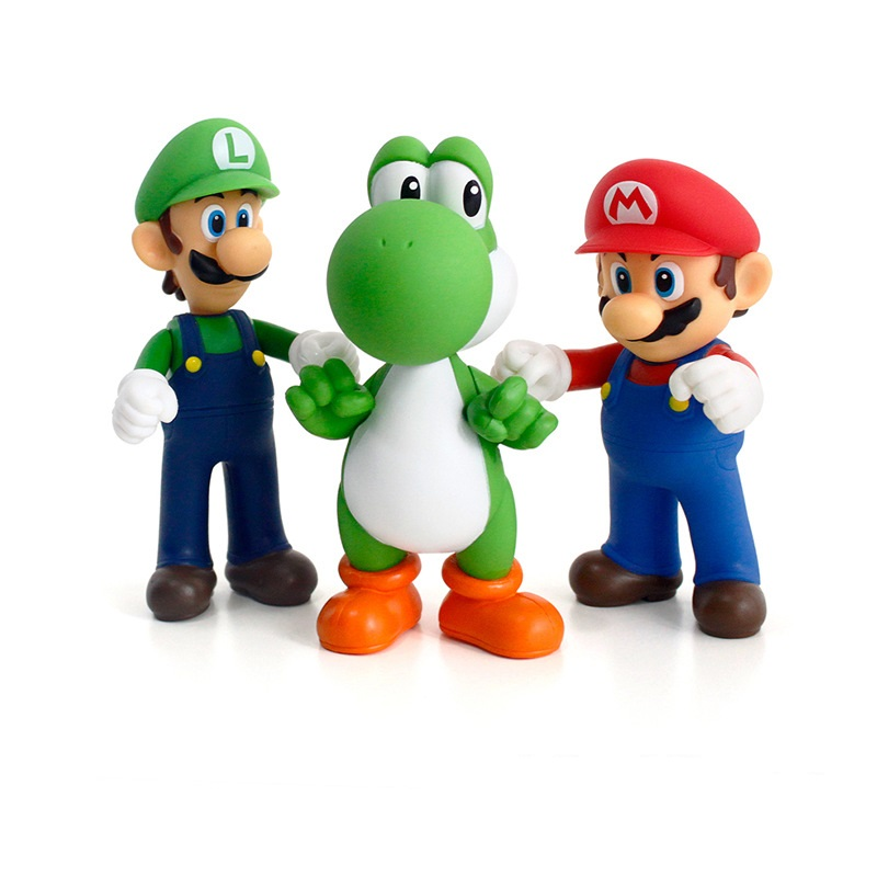 3D Super Mario Figurines Luigi Mario Yoshi Miniatures Action Figure Collection Model Toys Dolls 10-13cm For Kids Birthday Gifts