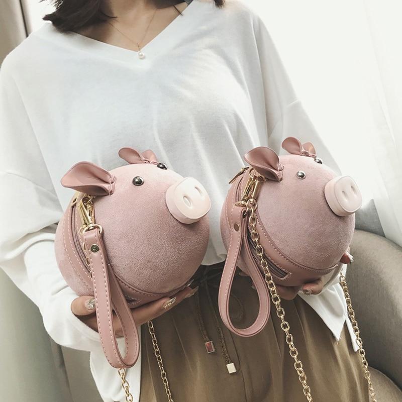 Korean Fashion Suede Women Bag Pig Small Round Bag Chain Female Shoulder Messenger Bag Wrist Bag Party Cute Cartoon Coin Purse