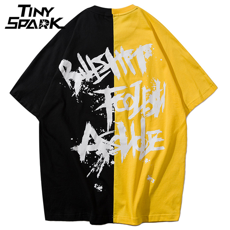 Paint Letter Print T Shirt Men Hip Hop Loose T-Shirt Half Sleeve Cotton Top Tees Casual Streetwear Tshirt Yellow Black Patchwork