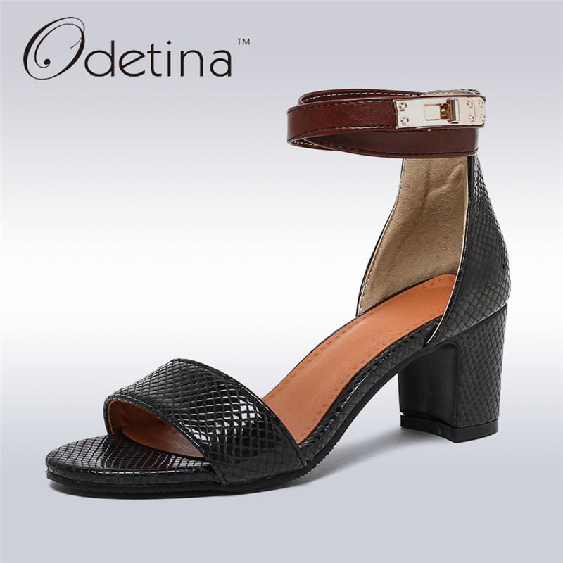 Odetina 2017 New Fashion Women Square Heel Ankle Strap Sandals Open Toe Retro Sandals Summer Med Heels Shoes Buckle Big Size 43 free shipping 2016 new summer shoes square heel sandals medium heel black and gray open toe pumps hsb14