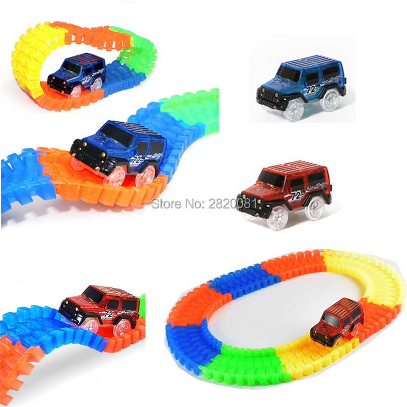 240pcs Race Track Car Glowing flexible soft Bend track with led lighting rail car puzzle educational