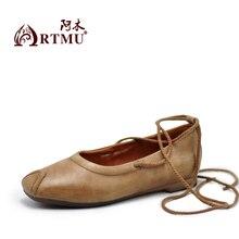 Artmu Original Vintage Art Square Toe DIY Genuine Leather Shoes Cross-tied Comfortable Soft Sole Flat Handmade 9728-6