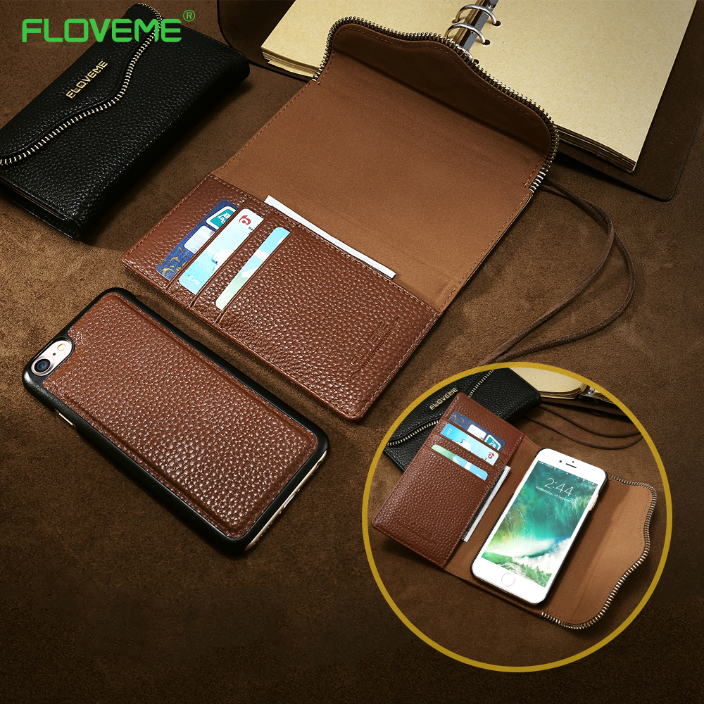 watch f78cb afcf1 US $18.16 |FLOVEME Wallet Cases For iPhone 7 7 Plus Litchi Leather Flip  Case Removable Back Cover Magnetic Chain Card Slot Girly Bags Capa-in Phone  ...