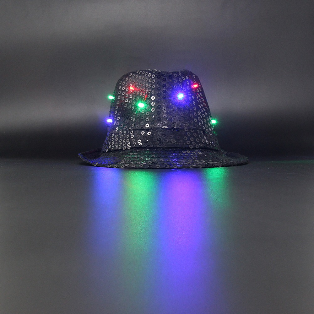 f61997baa01 LED Sequin Cowboy hat Silver Jazz Hip hop Show flash colorful cool Special  Halloween Bar adult or kids glitter party toy hats -in Light-Up Toys from  Toys ...