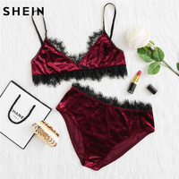 SHEIN Pajamas For Women Sexy Two Piece Set Sleepwear Women Burgundy Eyelash Lace Surplice Wrap Bra