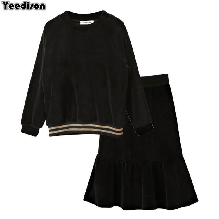 Teenage Clothing For Big Girls Black Velour Long Sleeve Blouse With Fishtail Flare Skirt 2 Pieces Set Velvet Clothes 2018 Autumn checkered fishtail hem skirt