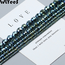 WLYeeS Plating Green faceted Round Hematite beads 2 3 4 6 8 10mm Ball natural  stone Loose bead for Jewelry Bracelet Makign DIY