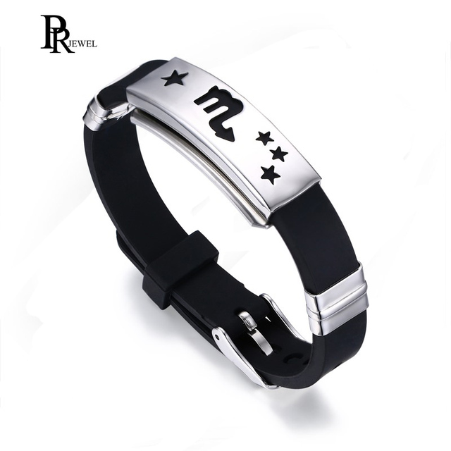 12 Constellation Black Rubber Silicone Bracelet for Men Stainless Steel Wristban