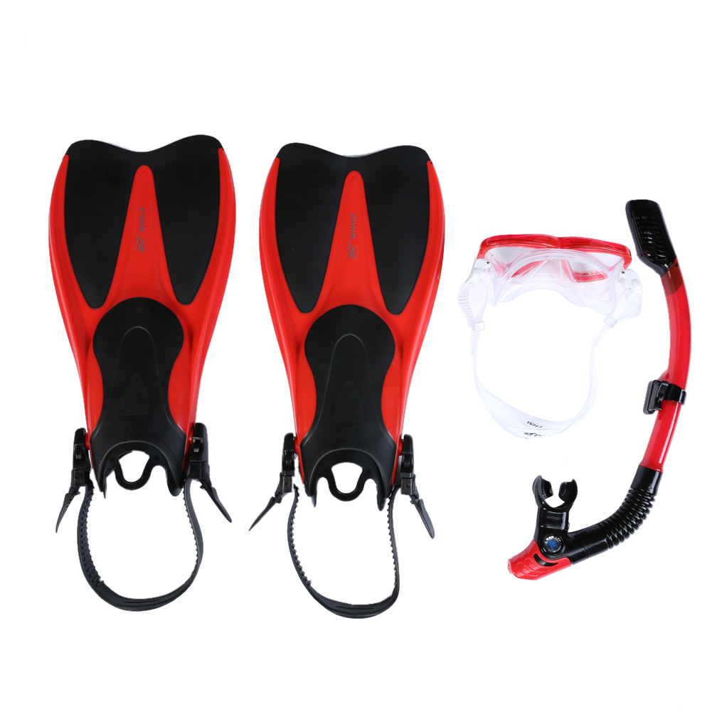 Professional Swimming Diving Snorkel Mask  Swimming Fins Water Sports Diving Mask Equipement Flippers Set for Sale brand professional swiming diving mask set silicone diving mask dry vent pipe breathing tube diving fins frogs