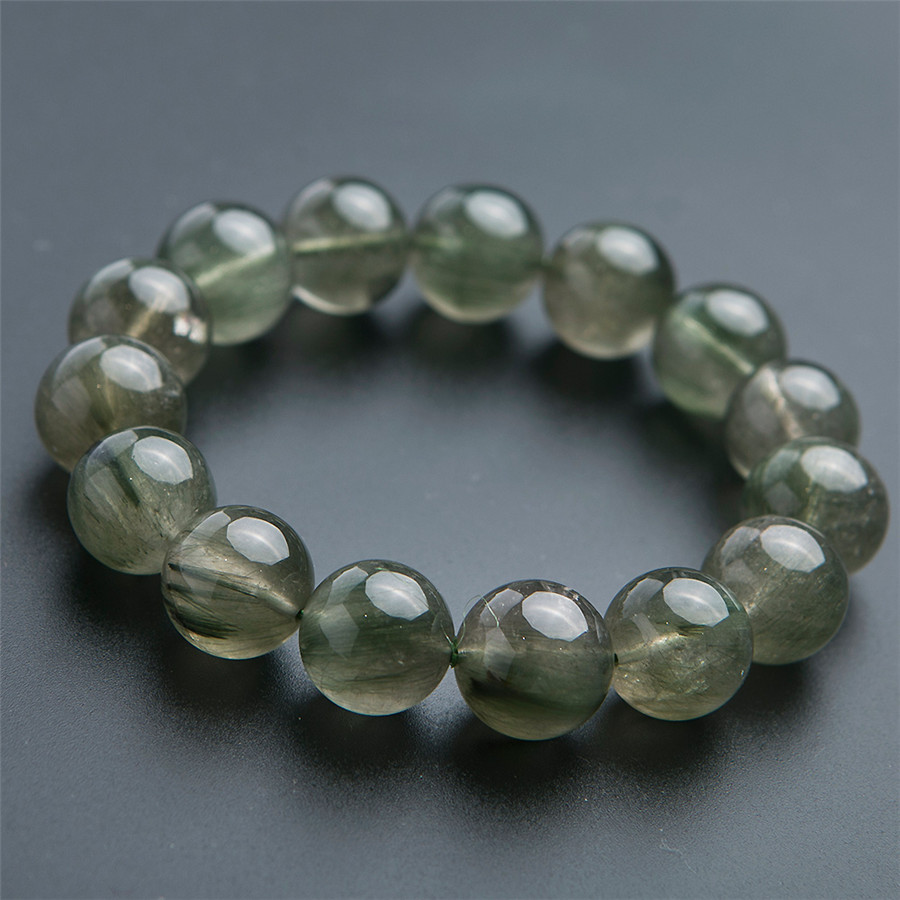 14mm Genuine Green Natural Rutilated Quartz Bracelets Women Men Stretch Rutilated Quartz Crystal Round Bead Power Bracelet in Bracelets Bangles from Jewelry Accessories
