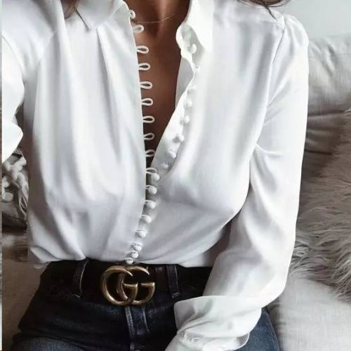 ITFABS Hot Fashion Party Women Summer Long Sleeve Loose  Casual White Button Tops T-Shirt Ladies Shirt