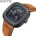 GIMTO 2016 Square Men's Sport Watch Top Brand Luxury Genuine Leather Quartz Men Wrist Watch Male Clock relogio masculino saat