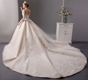 Image 3 - SL 6064 luxury shinny lace ball gown wedding dresses 2019 long sleeves muslim wedding bridal dress