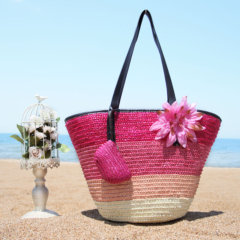 Caker Summer Straw Beach Bag Women Large with Flower Wallet Pocket Girl Female Pink Beach Bag Designer Tote Bag