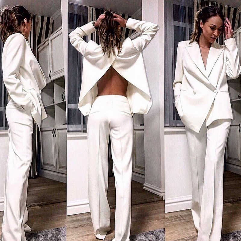 INDRESSME 2019 Fashion V-Neck Sexy Hollow Out Blazer Backless Top Long Pant Suits Set Formal Women Office Lady 2 Pieces Sets