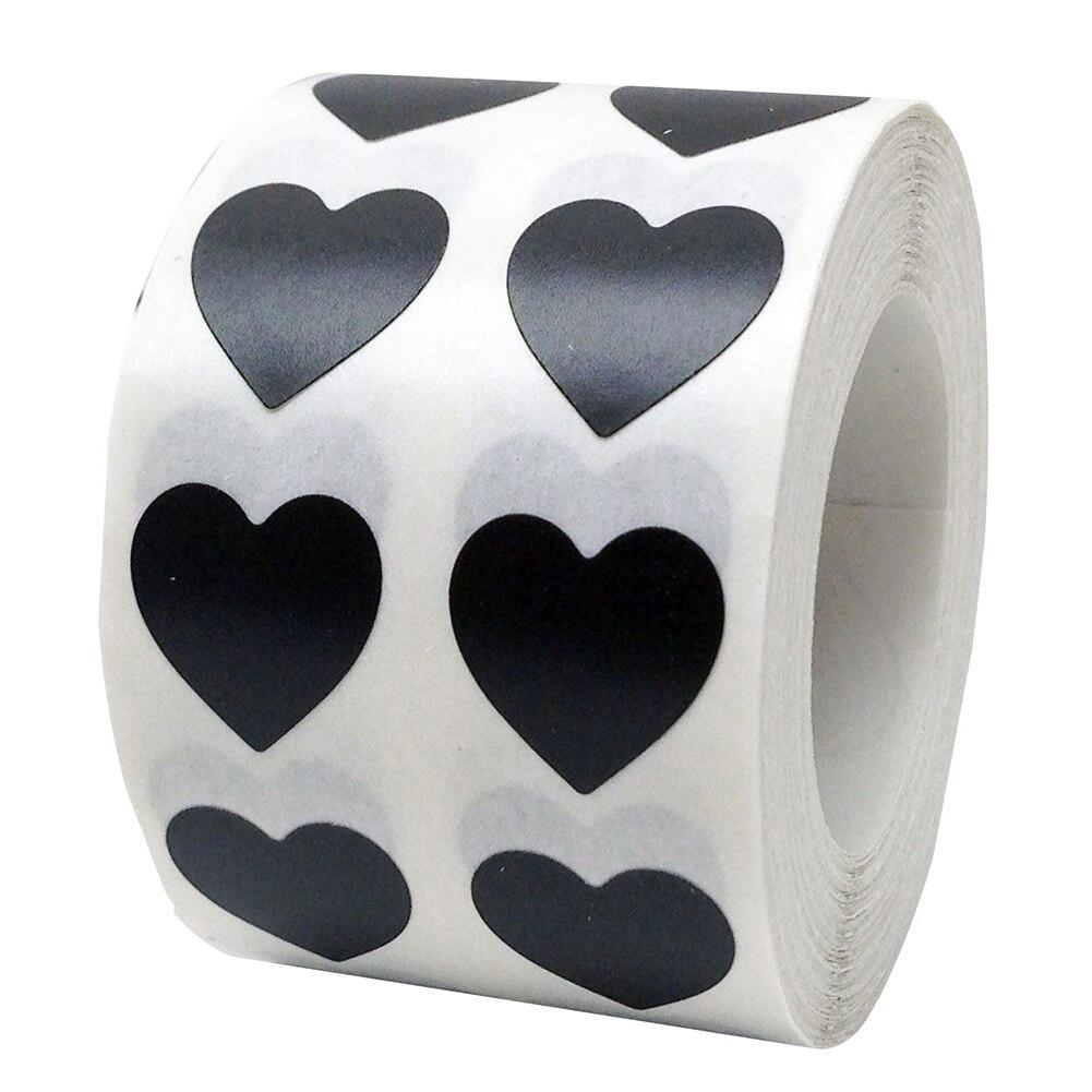 Рулон Любовь Сердце этикетки наклейки свадебный подарок упаковка герметизация Искусство Наклейка упаковка мешок - Цвет: Черный