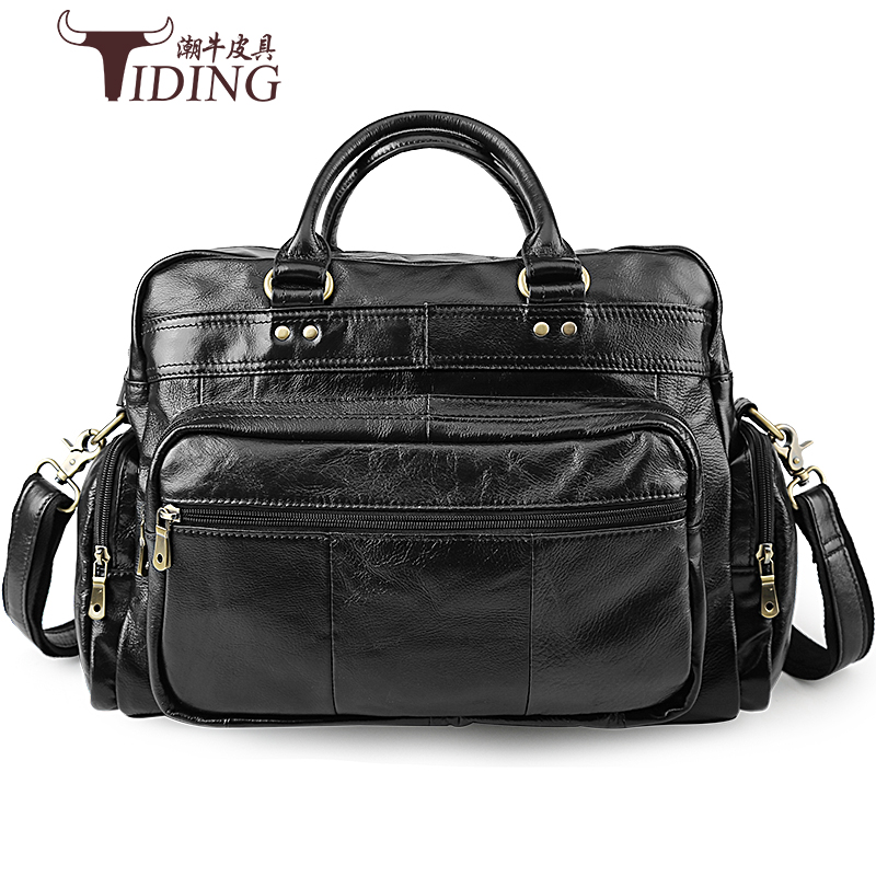 Men Briefcase Casual Tote Black Bags Cow Leather 2018 Business Travel Large Capacity Brand Shoulder Cross Body Handbag Bags