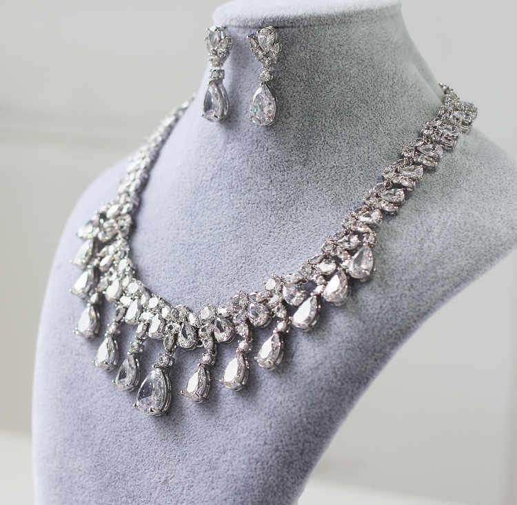 Luxuriöse Kostenloser Versand Teardrop Zirkon Edelstein Kristall Hochzeit Brautschmuck Sets braut Vergoldete Halskette Ohrringe Weiblichen