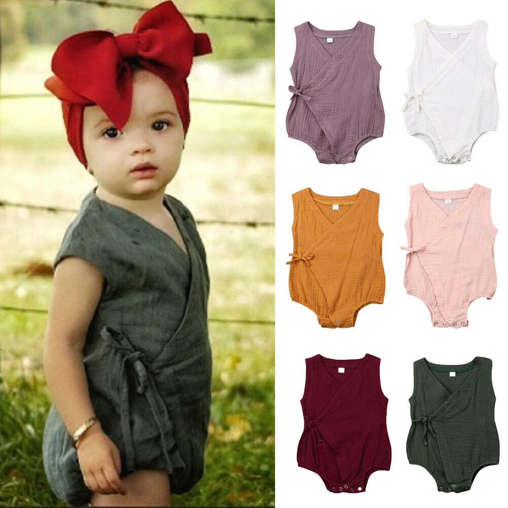 2019 Cute Newborn Infant Baby Girls Clothes Sleeveless Solid   Romper   Cotton Linen Kimono Jumpsuit Clothes 0-18M