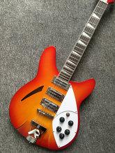 전문 중국 일렉트릭 기타 rickenback 벚꽃 빨간색 중공 몸 3 픽업 6 현 Rickenback 재즈 기타, 무료 배송