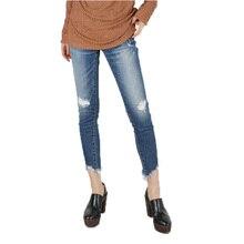 2017 весенние джинсы женщина случайные мыть отверстие высокой талии джинсы женские брюки