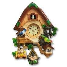 Artisanat maison son-contrôlé coucou horloge coucou dessin animé horloge créative enfants hall chambre locataires muet quartz horloge carillon