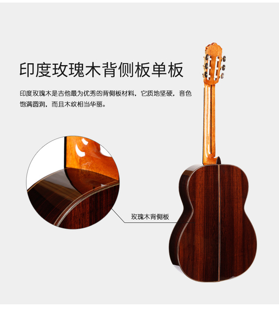"""Professional Handmade 39"""" Full Solid Acoustic Classical guitar With Solid Cedar Top/ Solid Rosewood Body +Original 30MM ,Gloss 5"""