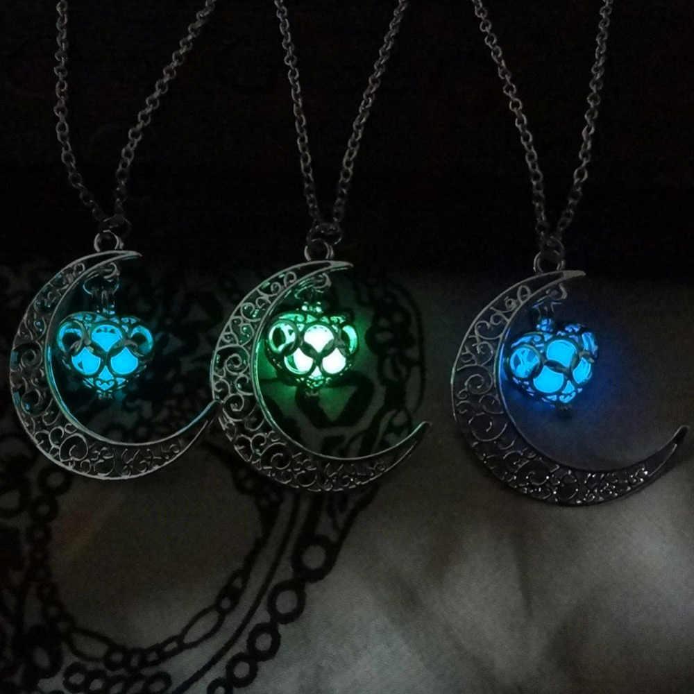 ムーン光るネックレス、宝石チャームジュエリー、シルバーメッキ、ハロウィンギフト送料無料