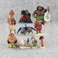 10 pçs/set Moana filme Princesa Moana Maui Waialik Heihei Moana Adventure Pack PVC kawaii Figuras Brinquedos Para Crianças Caçoa o Presente