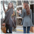 Vancol Autumn Woolen Thickening Jacket Slim Penguin Overcoat Black Solid Color  Wool Blend Women Winter Female Coat