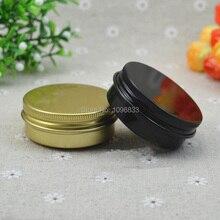 30 جرام 30 مللي جرة الألومنيوم الذهب الأسود الألومنيوم صندوق معدني ، كريم التجميل علبة التعبئة والتغليف ، حاويات القصدير ، 100 قطعة/الوحدة