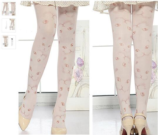 Spring and Autumn Japanese Harajuku Cat Eyes Women's Tights Lady's Tattoo Pantyhose