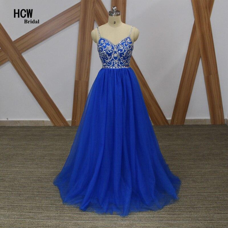 Robe de soirée longue couleur bleue strass perlé Tulle une ligne Spaghetti sangle Sexy robes de soirée 2019 nouvelles robes de soirée arabes